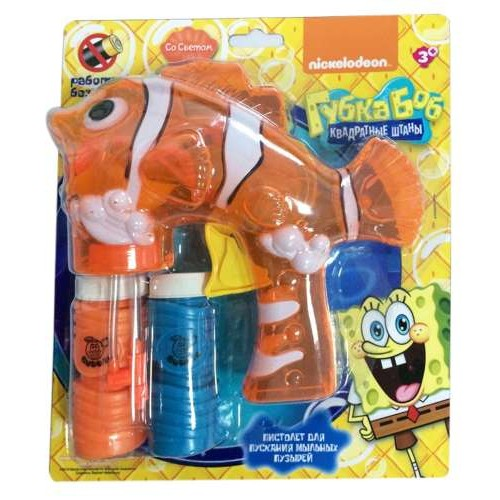 1toy Губка Боб, пистолет механич. с мыл. пузыр., со светом, работает без батареек, 2 бут. по 50 мл, блистер