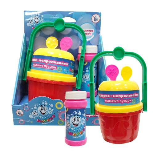 1toy Мы-шарики! ведёрко-непроливайка для мыл.пуз., 2 венчика, бут. 60мл, коробка