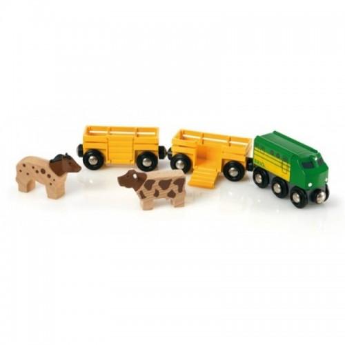 3 грузовых вагона с животными, 5 элементов Brio