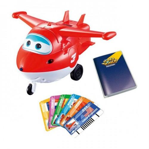 Джетт с пластиковыми карточками разных стран, свет, звук, Супер Крылья (Super Wings)