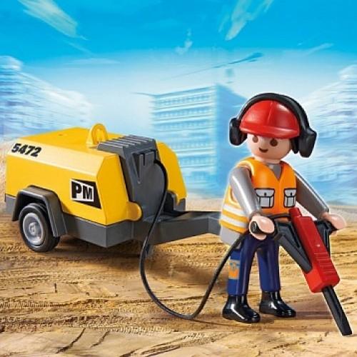 Стройка: Строитель с отбойным молотком Playmobil 5472pm