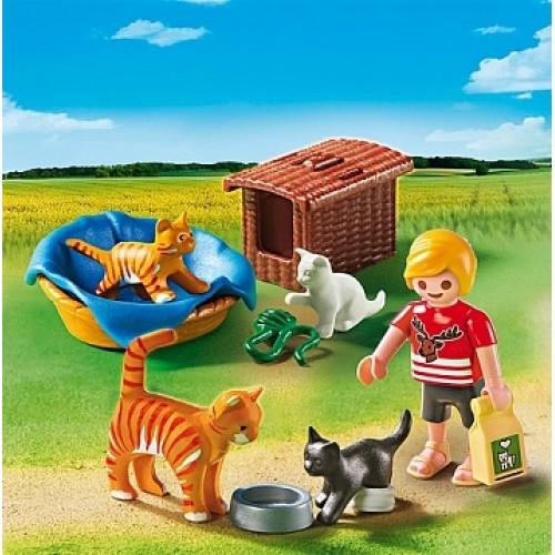 Ветеринарная клиника: Семья кошек с корзинкой Playmobil 5535pm