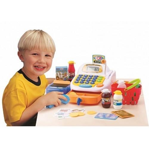 Набор-супермаркет: кассовый аппарат,микрофон ,продукты - свет , звук Keenway 30242