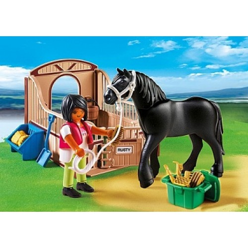 Конный клуб: Черная лошадка и загон Playmobil 5519pm