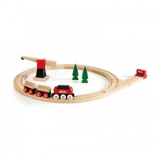 Железная дорога для малышей с краном 18 элементов Brio