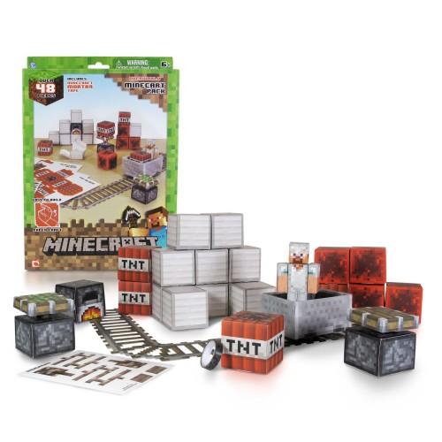 """Конструктор из бумаги """"Вагонетка и взрывчатка ТНТ"""",48 дет. Майнкрафт (Minecraft)"""