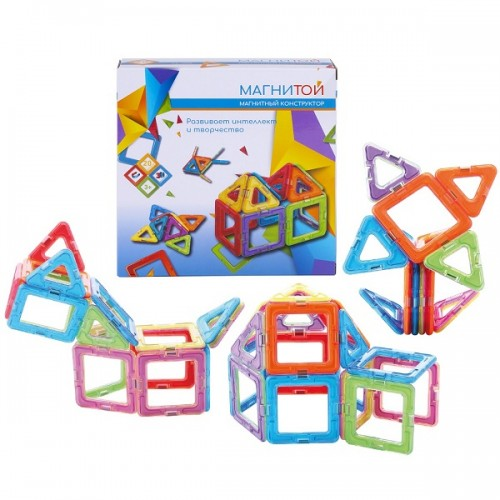 Конструктор магнитный 12 квадратов (6 - без окна), 8 треугольников Магнитой