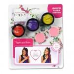 Lucky пудра для волос набор (3 цвета) со спонжем цвета: фиолетовый красный желтый 1 баночка масса 35 г.