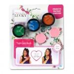Lucky пудра для волос набор (3 цвета) со спонжем цвета: красный синий зеленый баночка масса 35 г.