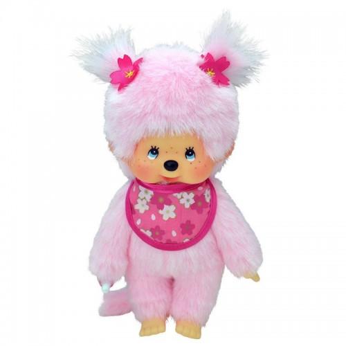 Мончичи 20 см девочка с розовой шерсткой в слюнявчике сакура Monchhichi