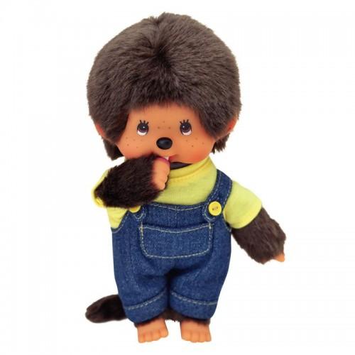 Мончичи 20 см мальчик в комбинезоне и желтой футболке Monchhichi