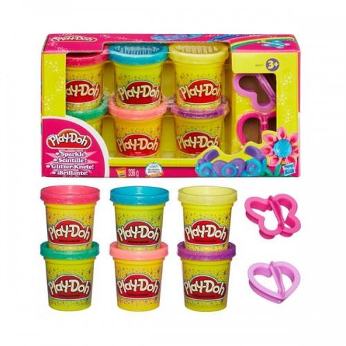 Набор из 6 баночек Блестящая коллекция Play Doh (Плей До)
