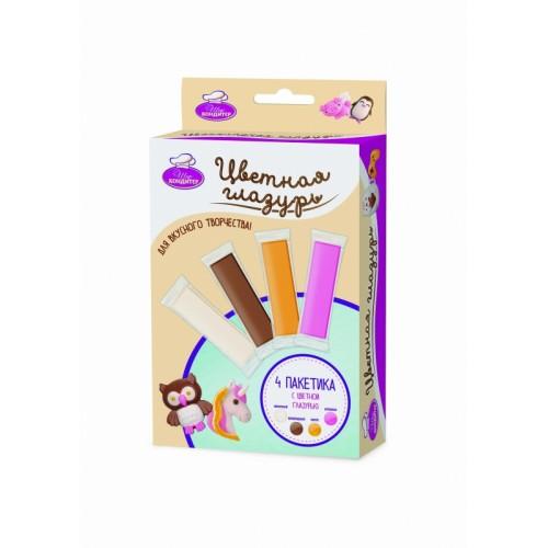 """Набор шоколадной глазури для ручки """"Шеф-Кондитер"""" (4 цвета) 1TOY Т13708"""