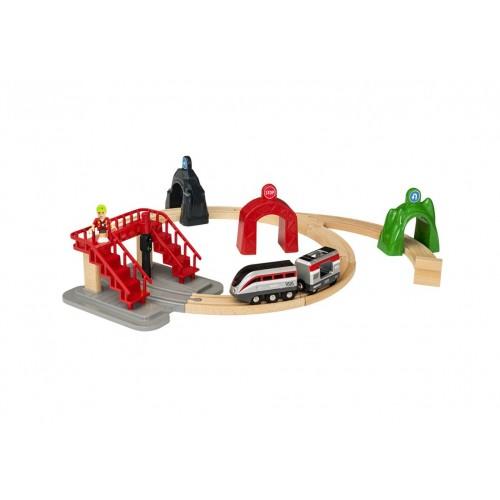 Smart Tech Ж/д набор (17 элементов - фигурка человечка, 2 вагона, 3 туннеля, лестница, элементы дороги 10 шт.) BRIO