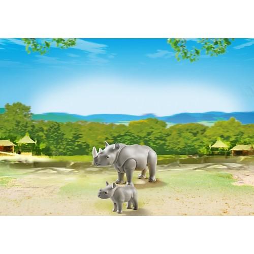 Зоопарк: Носорог с носорожком Playmobil (Плеймобил)