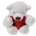 Медведь белый лежачий с красным сердцем, 38 см
