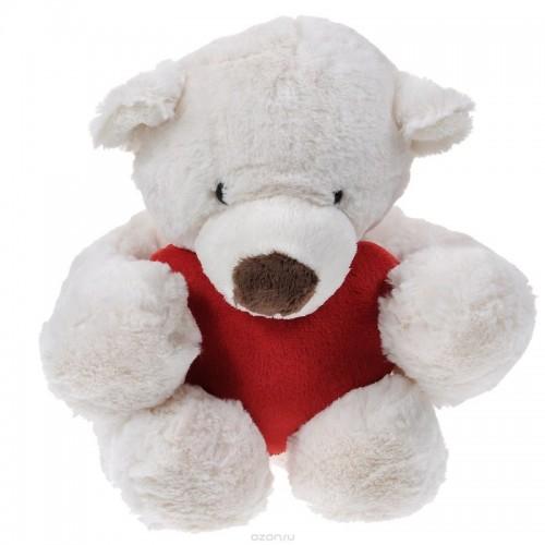 Медведь белый лежачий с красным сердцем, 38 см Gulliver 7-54712