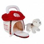 Домик-сумка с собачкой, бел. цвет 15 см