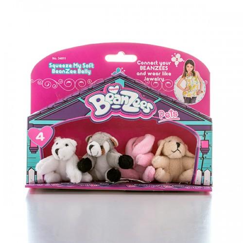"Мини плюш в наборе ""Медведь, Енот, Кролик, Песик"" Beanzees"