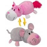 Вывернушка 35 см 2в1 Розовый кот-Мышка