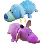 Вывернушка 76 см 2в1 Голубой Щенок-Фиолетовый Слон