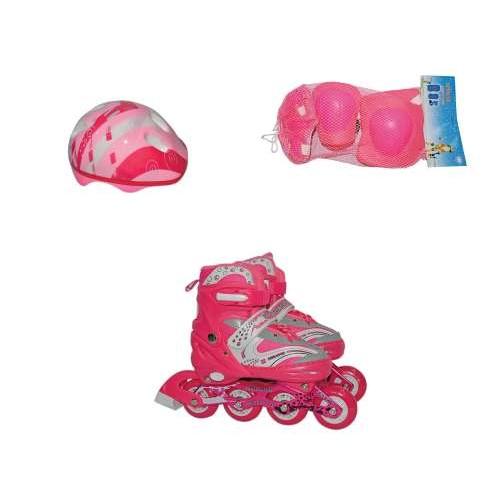 Роликовые коньки переднее колесо со светом в комплекте защита и шлем M (34-37), розовые Navigator