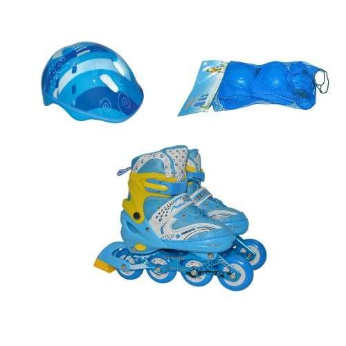 Роликовые коньки переднее колесо со светом в комплекте защита и шлем S (30-33), голубые Navigator