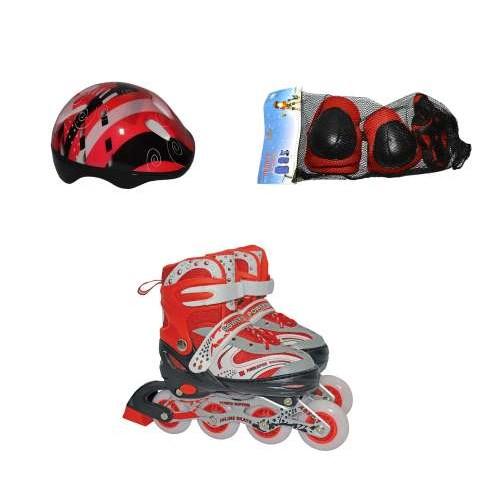 Роликовые коньки переднее колесо со светом в комплекте защита и шлем S (30-33), красные Navigator