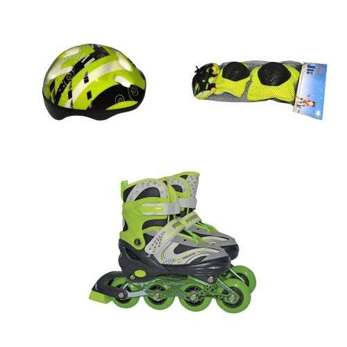 Роликовые коньки переднее колесо со светом в комплекте защита и шлем S (30-33), зеленые Navigator