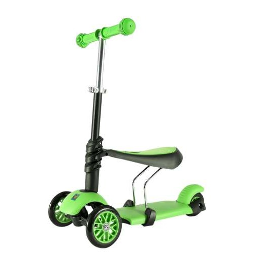 Самокат 3х колесный 3 в 1 управление наклоном, колеса со светом, зеленый 1TOY