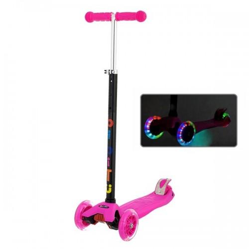 Самокат BiBiTu Cavy со светящимися колесами и регулировкой руля (розовый)