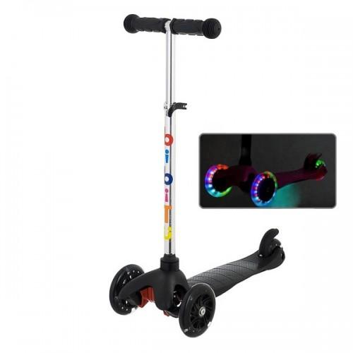 Самокат BiBiTu Jay со светящимися колесами и регулировкой руля (черный)