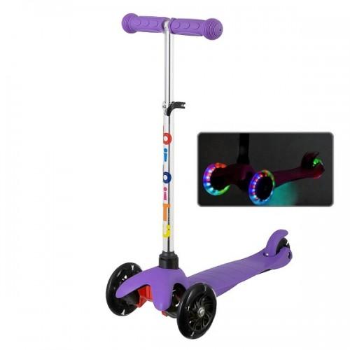 Самокат BiBiTu Jay со светящимися колесами и регулировкой руля (фиолетовый)