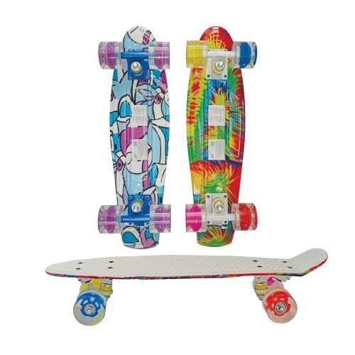 Скейт пластиковый с рисунком и светом 56х14,5см Navigator